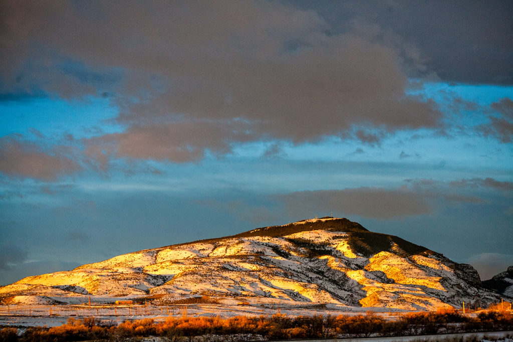 Winter mountains at sunrise in Cody Wyoming