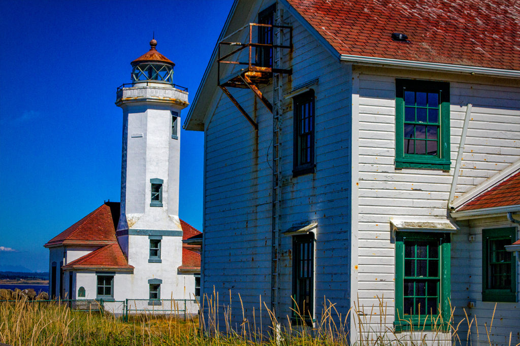 Lighthouse and building at Port Townsend WA