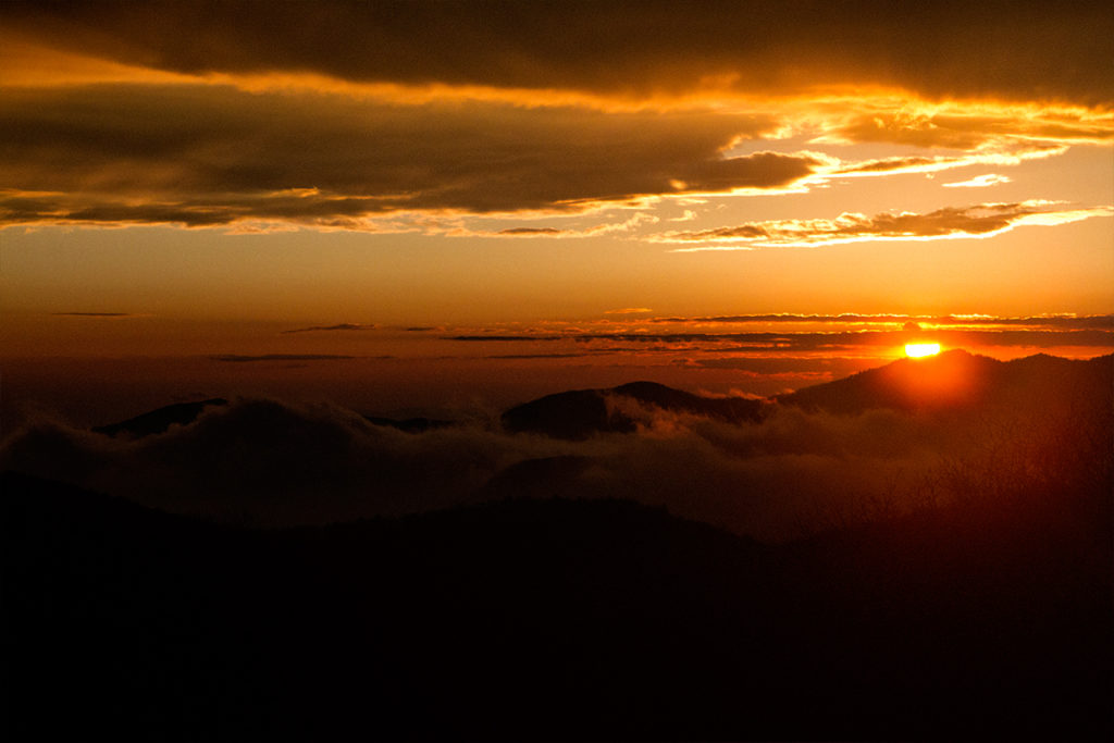 sunset in the Smoky Mountains and Blue Ridge Pkwy