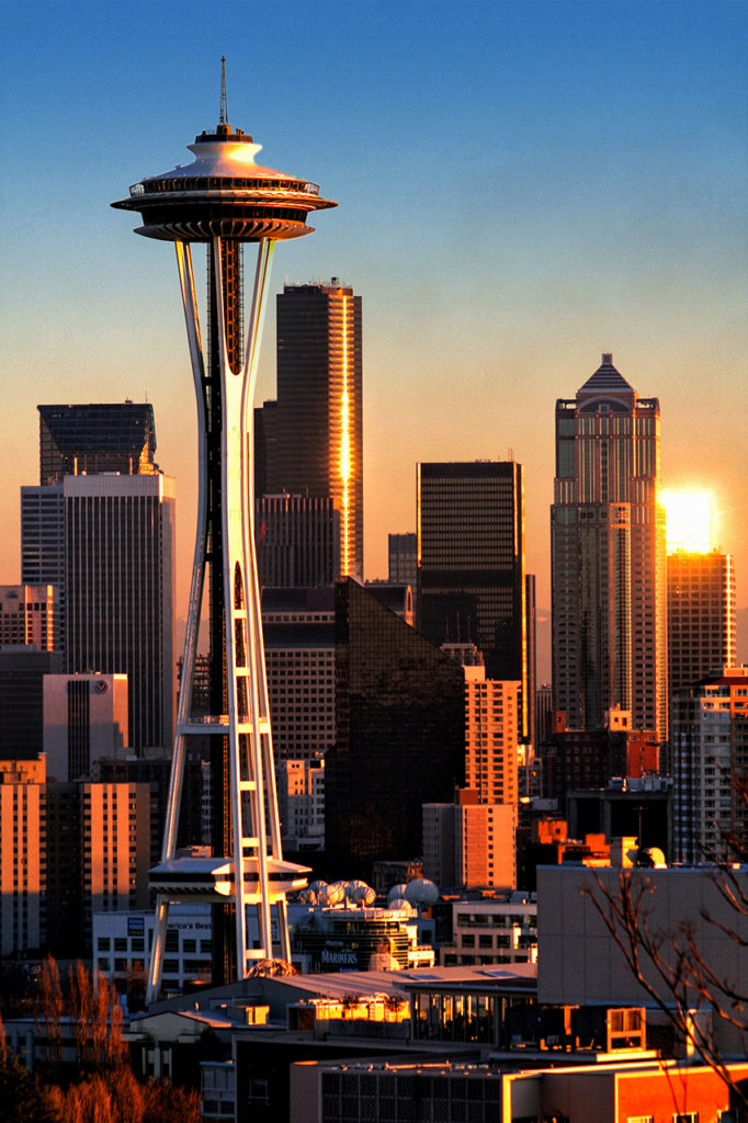 Seattle skyline at sunrise with the Space Needle in foreground